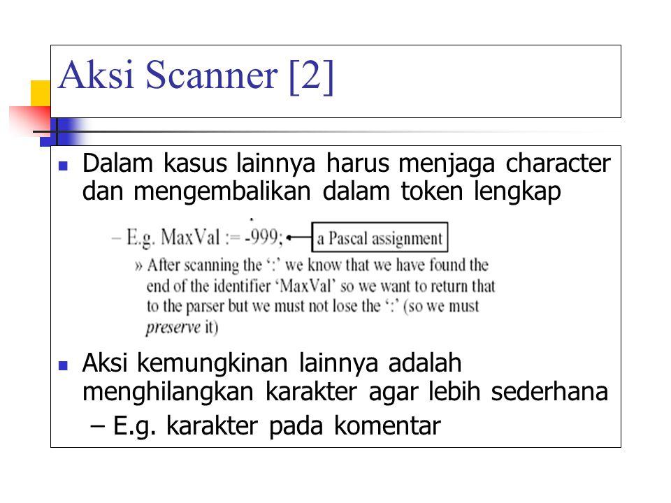 Aksi Scanner [2] Dalam kasus lainnya harus menjaga character dan mengembalikan dalam token lengkap.
